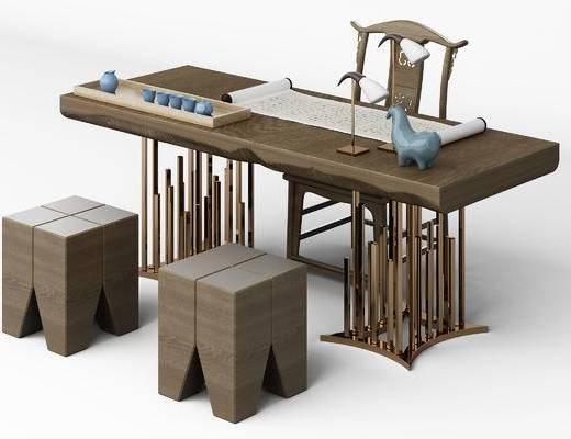 中式, 茶桌, 椅子, 书桌, 书桌椅, 单椅, 凳子, 新中式