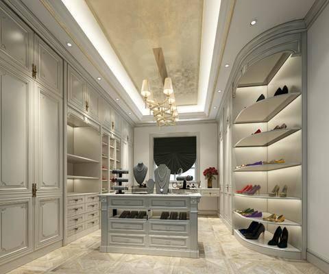 衣帽间, 鞋子组合, 吊灯, 欧式