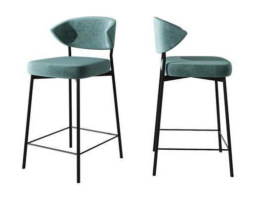 现代布艺创意吧台椅