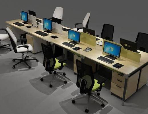 现代办公桌, 办公桌, 桌椅组合