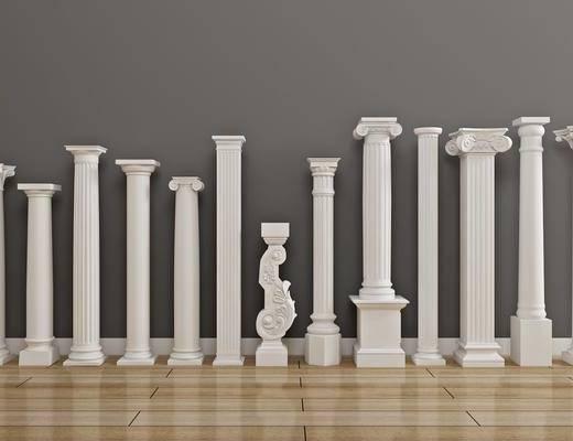 石膏柱子, 构件雕刻, 欧式