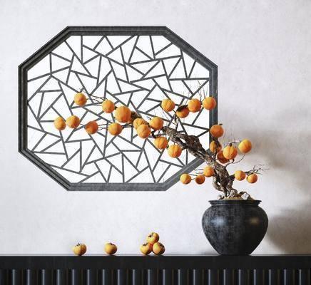 盆栽, 摆件组合, 花瓶