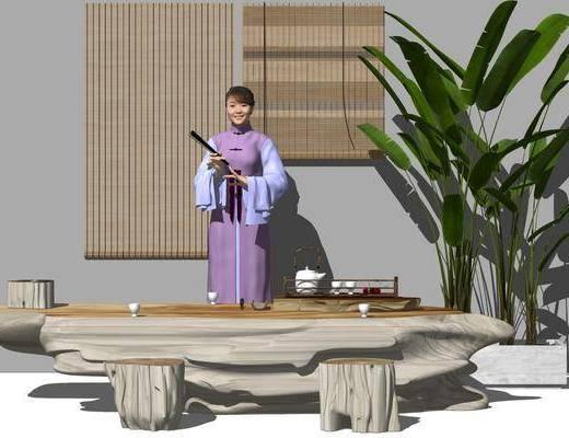 新中式根雕茶桌, 說書女人, 百葉窗簾