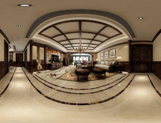 美式客厅, 客厅, 沙发组合