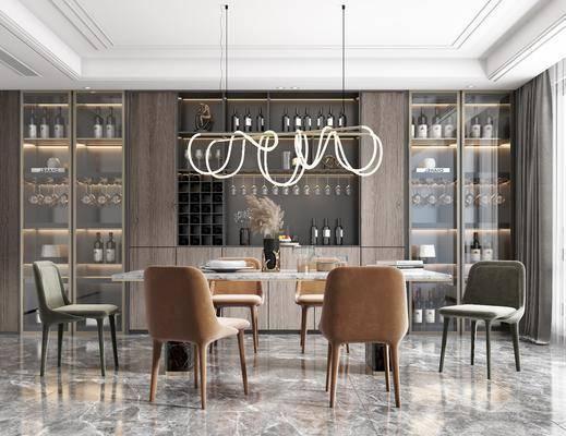 餐桌, 餐椅, 酒柜, 橱柜, 吊灯, 装饰品