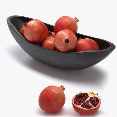 水果盘, 石榴, 盘子, 现代