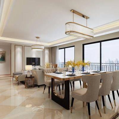 客厅, 餐厅, 餐桌, 餐椅, 单人椅, 吊灯, 摆件, 多人沙发, 躺椅, 边几, 台灯, 装饰画, 挂画, 边柜, 现代