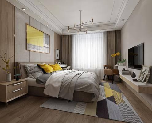 北欧卧室, 床, 床头柜, 装饰画, 吊灯, 电视柜, 妆台