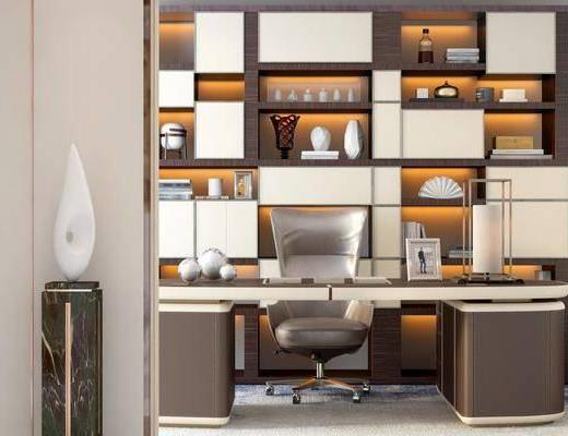 书房, 书柜, 装饰柜, 书桌, 单人椅, 办公桌, 办公椅, 摆件, 装饰品, 陈设品, 现代