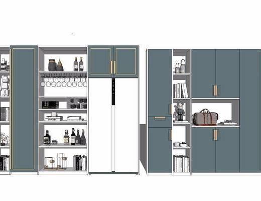 柜架组合, 酒柜, 装饰柜, 置物柜