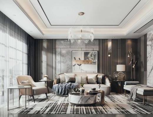 客厅, 沙发组合, 沙发茶几组合, 挂画, 台灯, 吊灯, 摆件组合, 落地灯, 现代