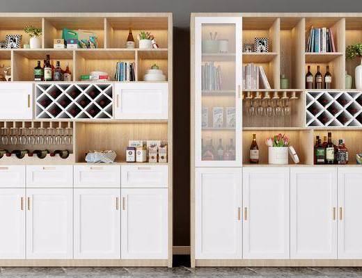 酒柜, 现代酒柜, 摆件组合