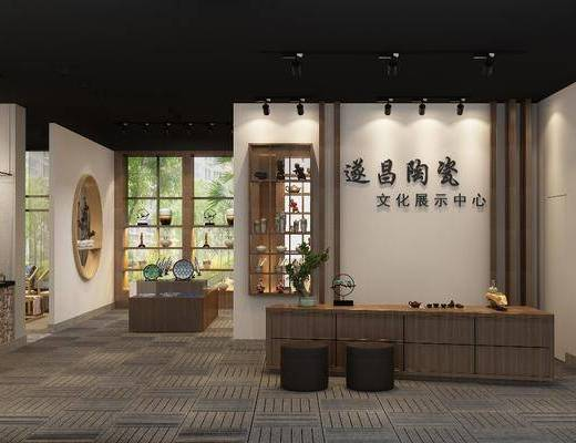 展厅, 新中式展厅, 瓷器展厅, 陶瓷, 展示架