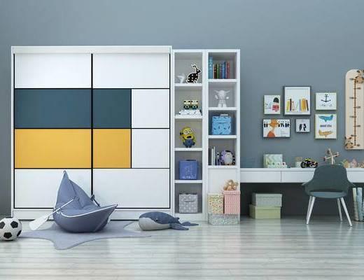 现代, 儿童房, 玩具, 儿童, 儿童桌椅, 衣柜, 置物柜, 墙饰, 陈设品, 摆件