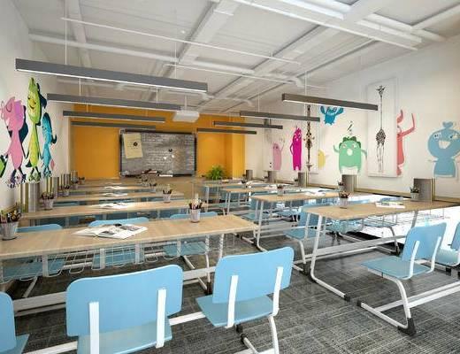幼儿园教室, 幼儿园活动室, 幼儿园, 儿童桌椅, 黑板, 儿童玩具