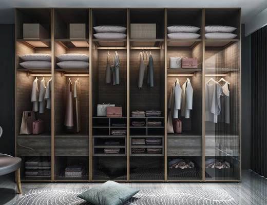 衣柜, 服饰, 单人椅, 现代轻奢
