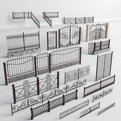 现代铁门围栏扶手组合, 现代, 铁艺护栏, 铁艺大门, 铁艺, 扶手