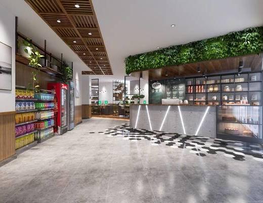 网吧, 收银台, 展示柜, 饮料, 绿植, 冰箱, 装饰柜, 现代