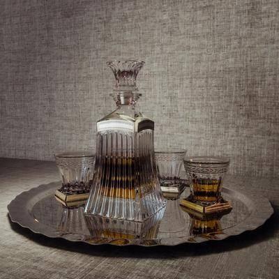 现代酒瓶酒水端盘组合, 现代, 酒瓶, 酒杯, 端盘