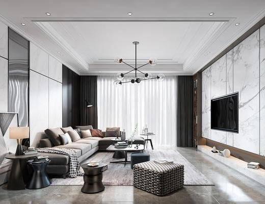 客厅, 多人沙发, 转角沙发, 茶几, 边几, 台灯, 脚踏沙发, 装饰画, 挂画, 吊灯, 书柜, 书籍, 摆件, 装饰品, 陈设品, 现代