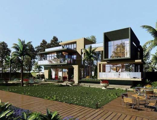 别墅小洋房, 外立面, 桌子, 单人椅, 休闲椅, 树木, 绿植, 现代