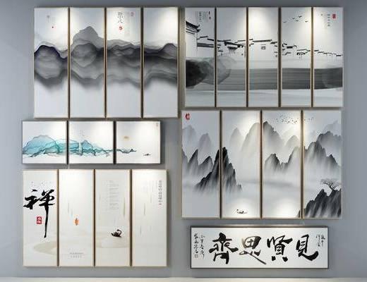 装饰画, 新中式装饰画, 挂画, 新中式, 山水画