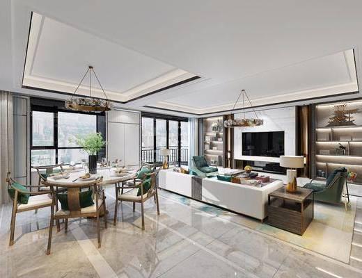 新中式餐厅, 新中式客厅, 餐厅, 客厅, 沙发组合, 茶几, 吊灯, 餐桌, 椅子, 餐具, 台灯, 摆件