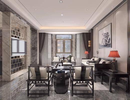 客厅, 多人沙发, 茶几, 边几, 台灯, 装饰画, 挂画, 单人椅, 摆件, 装饰品, 陈设品, 中式