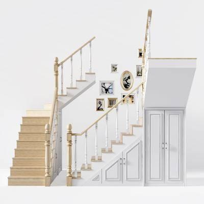 楼梯储物柜, 楼梯组合, 挂画组合, 欧式