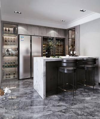 酒柜, 冰箱, 裝飾品, 擺件組合, 吧臺, 單椅