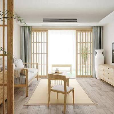 客厅, 双人沙发, 单人椅, 边柜, 茶几, 摆件, 绿植, 日式