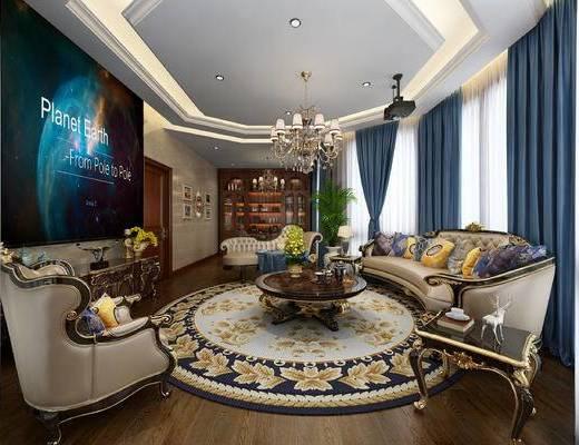 欧式影音室, 弧形沙发, 贵妃榻, 单人沙发, 茶几, 电视柜, 茶台, 装饰柜, 欧式
