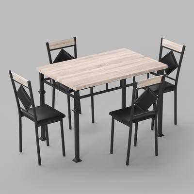 现代餐厅桌椅组合, 桌椅组合, 餐桌, 椅子