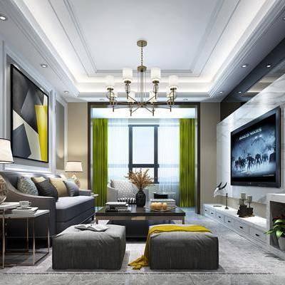 多人沙发, 椅子, 单人沙发, 电视柜, 边几, 台灯, 装饰画, 吊灯, 摆件, 现代