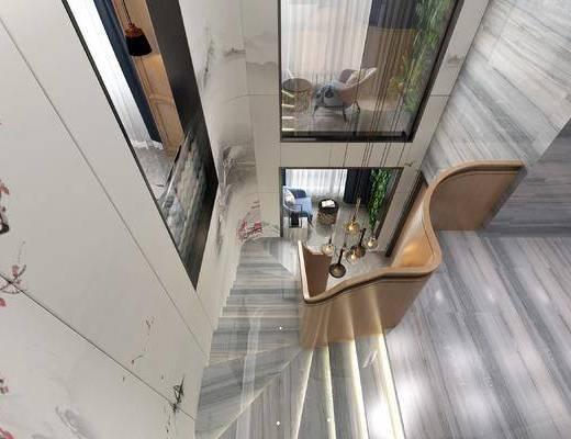 新中式, 楼梯间, 装饰画
