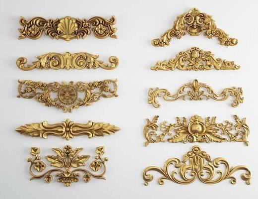 雕花, 欧式雕花, 金色