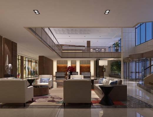 现代, 中式, 前台, 沙发, 茶几