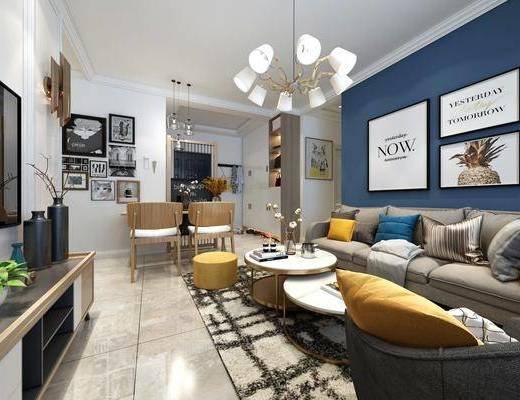现代客厅, 现代餐厅, 北欧客厅, 北欧餐厅, 客餐厅, 北欧沙发, 沙发组合, 沙发茶几组合