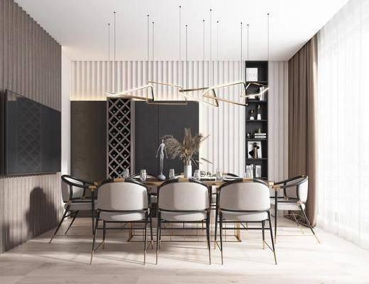 餐桌, 桌椅组合, 吊灯, 餐具组合, 置物柜