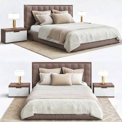 床具组合, 双人床, 台灯, 床头柜, 现代
