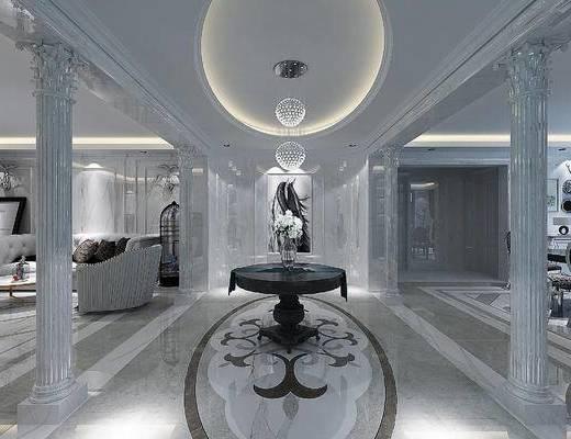 欧式, 大理石, 欧式圆桌, 玄关过道, 水晶吊灯