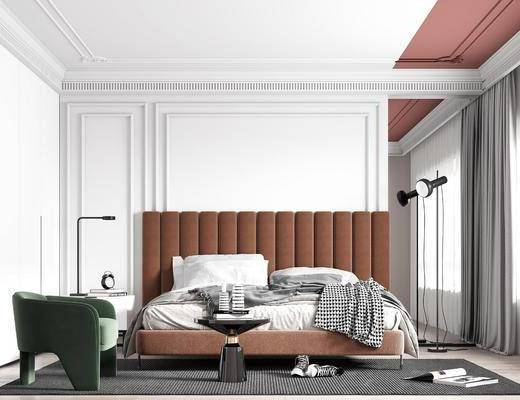 电视柜, 背景墙, 双人床, 单椅, 落地灯, 地毯, 窗帘