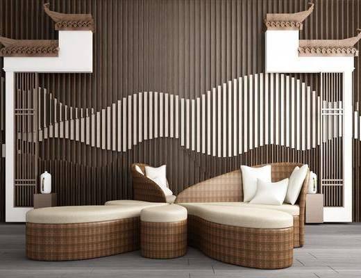 马头墙, 背景墙, 休闲沙发组合, 新中式
