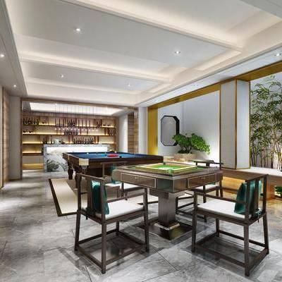 中式棋牌娱乐室, 棋牌室, 麻将桌, 斯诺克, 台球桌, 植物