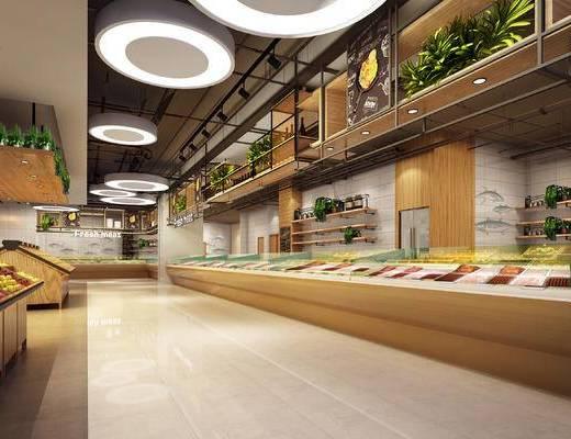 超市, 百货, 水果, 售货架, 吊灯, 装饰架, 置物架, 现代