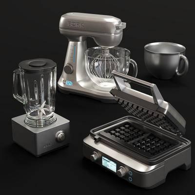 现代, 厨房电器, 搅拌机, 打蛋器, 破壁机, 烘烤机, 3d模型