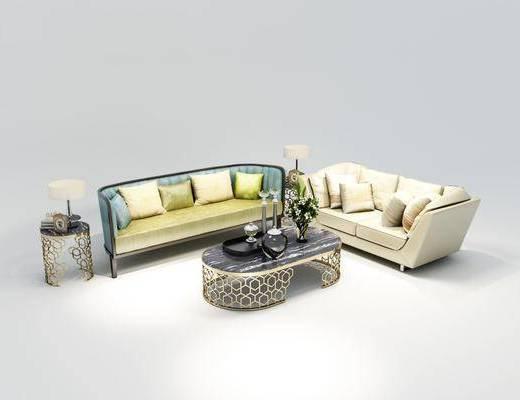 沙发组合, 多人沙发, 茶几, 边几, 台灯, 双人沙发, 摆件, 装饰品, 陈设品, 欧式