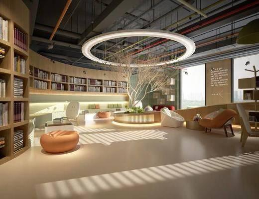 书吧, 图书馆, 书柜书籍, 桌椅组合, 吊灯, 树木, 沙发组合, 现代