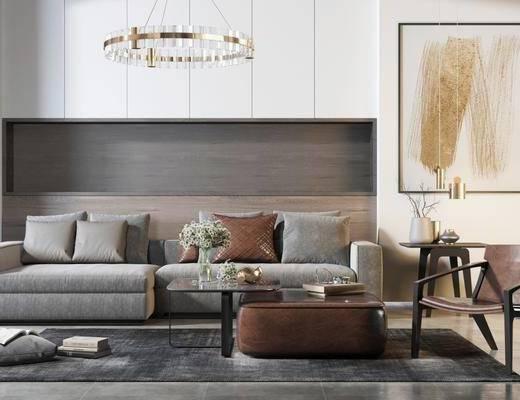 沙发组合, 茶几, 现代沙发组合, 单椅, 椅子, 挂画, 吊灯, 摆件, 现代