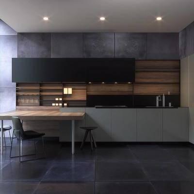 厨房, 现代橱柜, 简约, 吧台, 吧椅, 橱柜, 转角橱柜, 冰箱, 现代